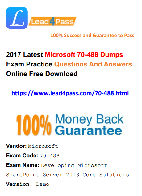 70 488 FREE DUMPS PDF DOWNLOAD